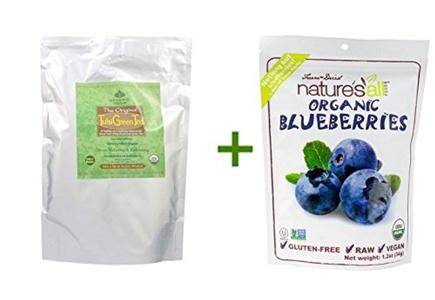 Organic India The Original Tulsi Green Tea -- 1 lb, (2 PACK), Nature's All Foods Organic Freeze-Dried Raw Blueberries -- 1.2 oz