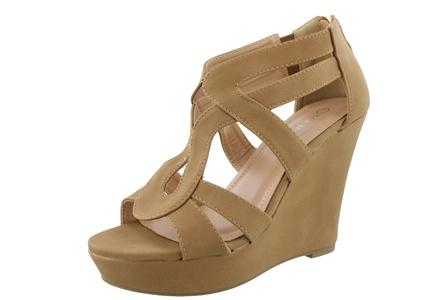 Top Moda Lindy Women Fashion Wedge Zipper Sandal Peep Toe Platform Ankle Strappy Heel