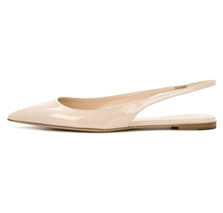 Eldof Women's Pointed Toe Slingback Flats Low Stacked Heel Patent Slippers Ladies Casual Shoes Beige US8