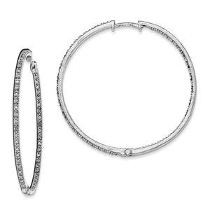 .925 Sterling Silver 52 MM Diamonds In & Out Hoop Earrings