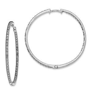 .925 Sterling Silver 52 MM Diamonds In & Out Hoop Earrings