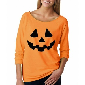 Gillberry Women Halloween Pumpkin Print Long Sleeve Pullover Tops Blouse Shirt (S, Orange)