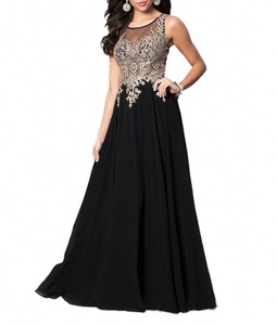 Winnie Bride 2017 Long Applique Evening Dress for Wedding Formal Party Prom Gown-4-Black