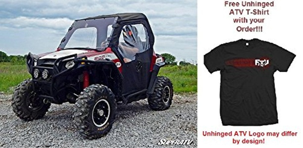 Bundled 2 items: Super ATV Soft Cab Enclosure for Polaris RZR and FREE Unhinged ATV T-Shirt (Small, Black)