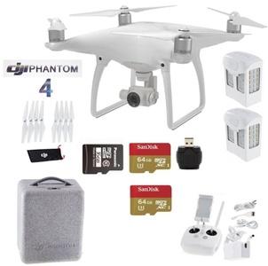 DJI Phantom 4 Beginners Kit - Includes 2 Intellegent In Flight Battery + 2 Extended Video 64GB Micro SD Memory Card