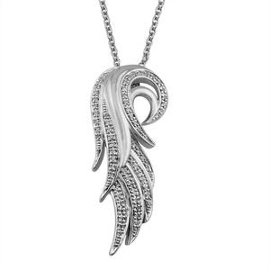 IGI Certified 14K White Gold Angel Feather Diamond Pendant Necklace (0.18 Carat)