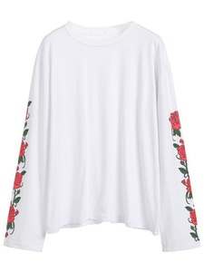 Floral Print Sleeve White T-shirt