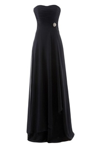 Winnie Bride Elegant Black Evening Dress for Women Formal Prom Gown Long Fitted-16W-Black