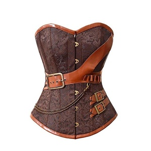 Spring fever Goth Steel Boned Faux Leather Vintage Steampunk Corset Bustier Brown 2XL/Waist:32-34inch US Size 12-14