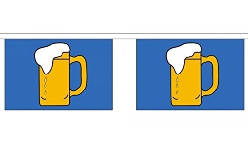 Beer Bunting 9M Metre Length With 30 Flags 9X6 100% Woven Polyester by Beer