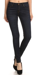 Women's Jeans Mid Rise Classic Solid Full Length Skinny Stretch Denim Pants