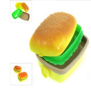 Molie 3 Layers Hamburger Shape Plastic Bento Lunch Box with Fork Spoon,Square
