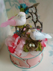Handmade Vintage Pink Wallpaper Gift Box With Glass Glittered Birds, Moss, Nest, Twigs, Vintage Millinery Flowers