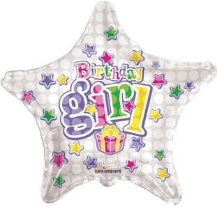 18 Birthday Girl Star Foil Balloon by Foil Balloons