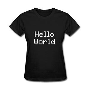 ZhiBo Women's Creative Pixel Words Hello World Designed T-shirts Black Large Women
