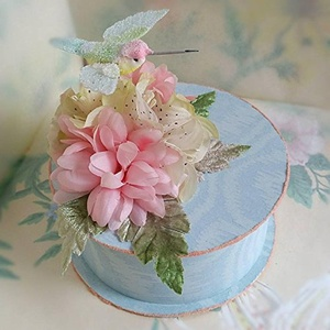 Handmade Hummingbird Gift Box with Vintage Wallpaper, Vintage Millinery Flowers and Glass Glitter