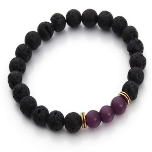 Leobeads Volcano Lava Rock Stone Yoga Healing Energy Cat's Eye Gemstone Elastic Beaded Stretch Bracelet (Purple)