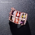 Slyq Jewelry Wide Multicolour Ring Rose Gold Plated Jewelry Inlay Austrian Crystals And Cubic Zircon Ri-HQ0273