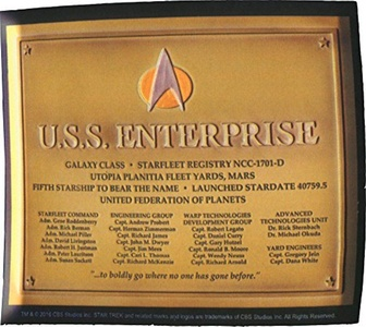 LootCrate July 2016 Exclusive Star Trek U.S.S. Enterprise Dedication Plaque Replcia Decal by Star Trek: The Next generation