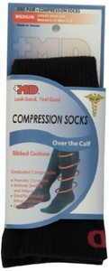 MD USA Ribbed Cotton Compression Socks with Cushion, Black, Medium by MD USA