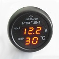 3In1 Car 12V 24V Digital Led Voltmeter Thermometer Usb Charger