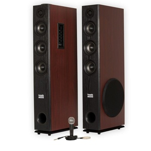 Acoustic Audio TSi650 Bluetooth Powered Floorstanding Tower Home Multimedia Speaker Pair and Mic TSi650M1