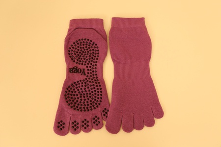 Want2 Non Slip Skid Toe Socks for Yoga Pilates Barre With Grips for Women (Purple)