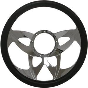 14 Chrome Billet Aluminum Steering Wheel w/ Half Wrap - 9 Hole by CFR Performance - Billet Aluminum Steering Wheels