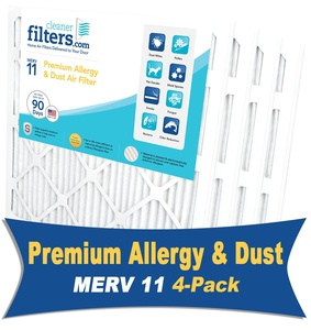 Cleaner Filters 12x12x1 Air Filter, Pleated High Efficiency Allergy Furnace Filters for Home or Office with MERV 11 Rating (4 Pack)