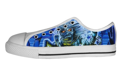 Low Top For Women's Iron Maiden Design Custom Sneakers Lace Up Canvas Shoes-7.5M(US)