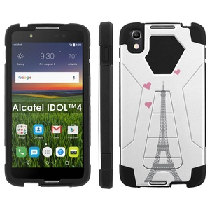 Alcatel One Touch IDOL 4 [Nitro 4/49] Phone Cover, Eiffel Tower Hearts - Black Hexo Hybrid Armor Phone Case for Alcatel One Touch IDOL 4 [Nitro 4/49]