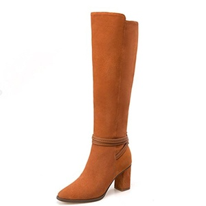 Nine Seven Suede Leather Women's Pointed Toe Chunky Heel Zip Knee High Handmade Fashion Boot (5.5, brown)