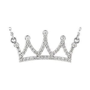 14kt White 1/5 CTW Diamond Petite Crown 16.45