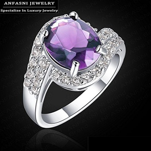 Slyq Jewelry Oval Shape Platinum Plated Ring Simulated Amethyst Female Ring Austrian Crystal Cubic Zirconia Fashion Jewelry WX-RI0112