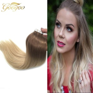 Googoo 20pieccs 50 Gram Per Package Color #6 And Color #613 Blonde Ombre Tape in Skin Weft Hair Extensions Remy Human Hair 14inches