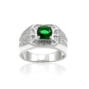 Solitaire Halo Accent Wedding Engagement Ring Round Cut Simulated Emerald Paver CZ 925 Sterling Silver