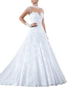 Favors Women's 2016 Pearl Long Sleeve High Neck Lace Wedding Dress for Bride White 12