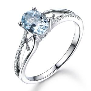 Natural Aquamarine Engagement Ring,6x8 Oval Blue Stone,14K White Gold,Wedding Promise Band,Anniversary