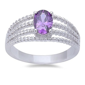 Solitaire Halo Wedding Engagement Ring Oval Cut Simulated Amethyst 925 Sterling Silver