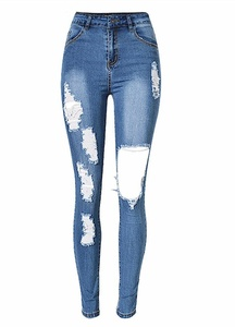 Ermonn Women's Ripped Washed Hole Denim Skinny Boyfriend Jeans Pants (L, Blue)