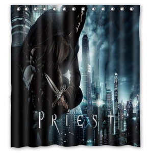 Personalized Priest Black Shower Curtain,Shower Rings Included 100% Polyester Waterproof 66