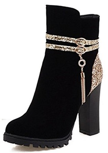 Summerwhisper Women's Sexy Sequin Fringe Strap Round Toe Booties Side Zipper Chunky High Heel Ankle Boots Black 7 B(M) US