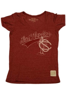 South Carolina Gamecocks Retro Brand WOMENS Maroon SS V-Neck T-Shirt (M)