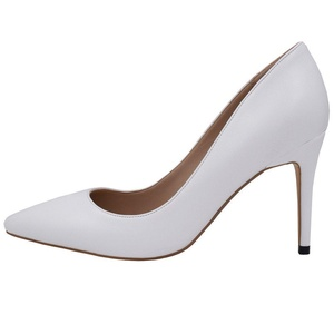 Lovirs Womens White PU Office Basic Slip on Pumps Stiletto Mid-heel Pointy Toe Shoes for Party Dress 6 M US