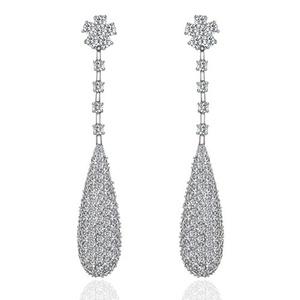 Flower Design Sense Unique Teardrop Clear Dangle Earrings for Women or Wedding Top Grade Swiss CZ, Linked Earrings For Girl M&M Jewelry