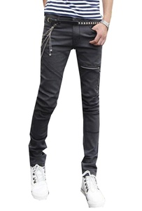 Unko Mens Hipster Hip Hop Denim Straight Slim Fit Biker Jean Dark Grey 34