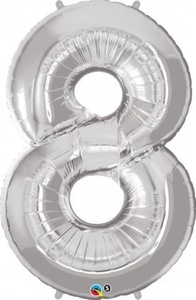 Helium Grade Foil Balloon 34 Number 8 Silver for Party Decoration by Qualatex