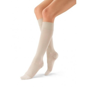 Jobst soSoft 8-15 mmHg Women's Ribbed Pattern Knee High Mild Compression Socks, Closed Toe (Large, Sand) by Jobst