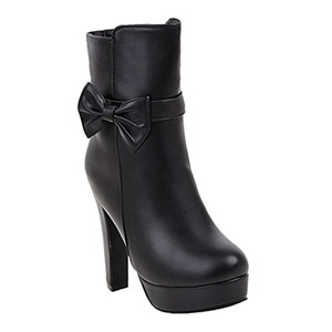 Show Shine Women's Sexy Bows High Heel Platform Ankle Boots (9, black)