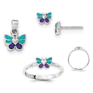.925 Sterling Silver Children's Enamel Butterfly Earrings, Ring & Pendant Set